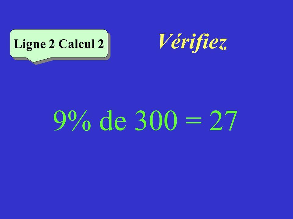 Vérifiez Ligne 2 Calcul 2 9% de 300 = 27