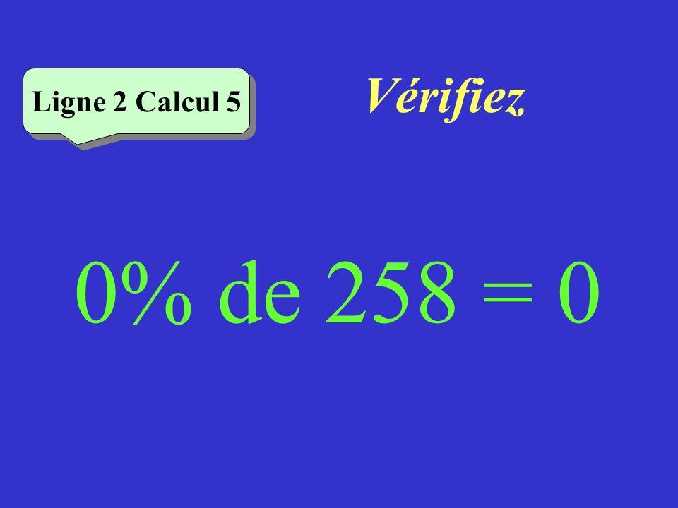 Vérifiez Ligne 2 Calcul 5 0% de 258 = 0