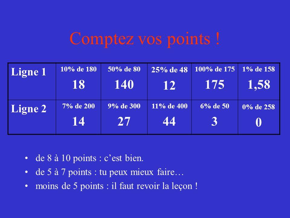 Comptez vos points ! 18 140 12 175 1,58 14 27 44 3 Ligne 1 Ligne 2