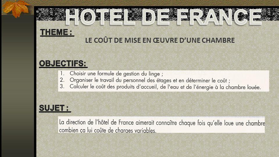 HOTEL DE FRANCE Theme : LE COÛT DE MISE EN ŒUVRE D'UNE CHAMBRE