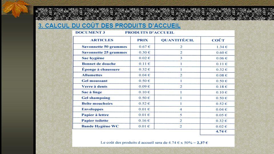 3. CALCUL DU COÛT DES PRODUITS D'ACCUEIL