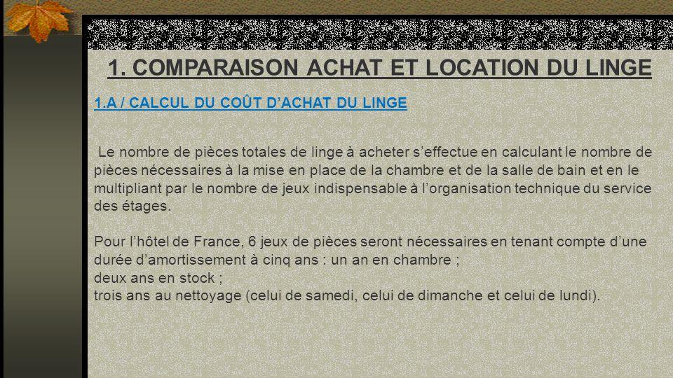 1. COMPARAISON ACHAT ET LOCATION DU LINGE