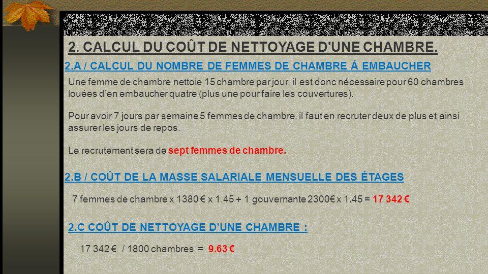 2. CALCUL DU COÛT DE NETTOYAGE D UNE CHAMBRE.