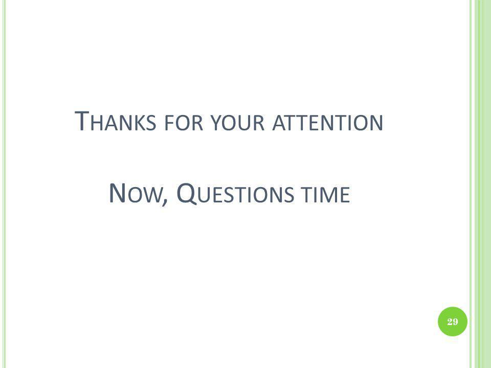 Thanks for your attention Now, Questions time