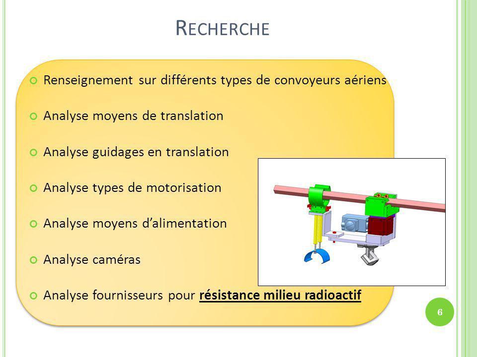 Recherche Renseignement sur différents types de convoyeurs aériens