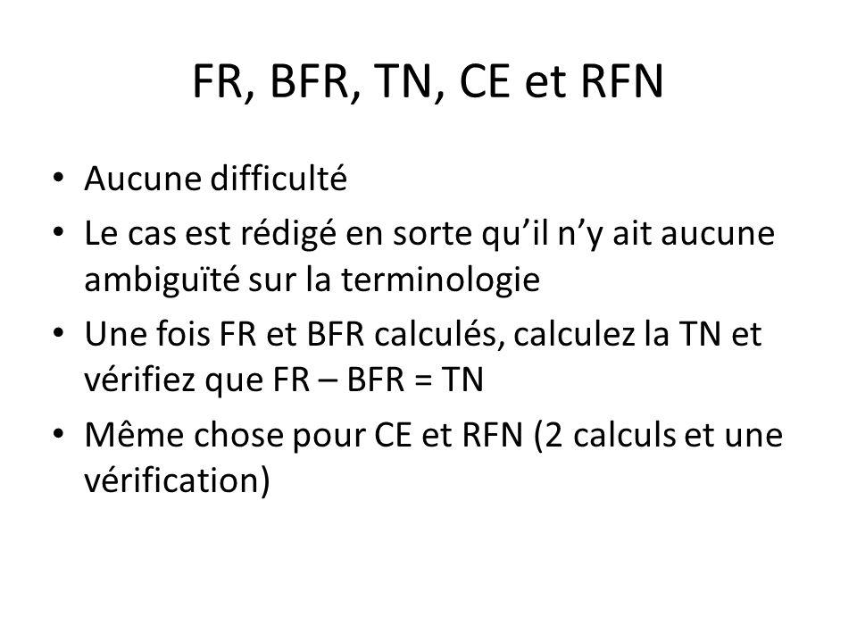 FR, BFR, TN, CE et RFN Aucune difficulté