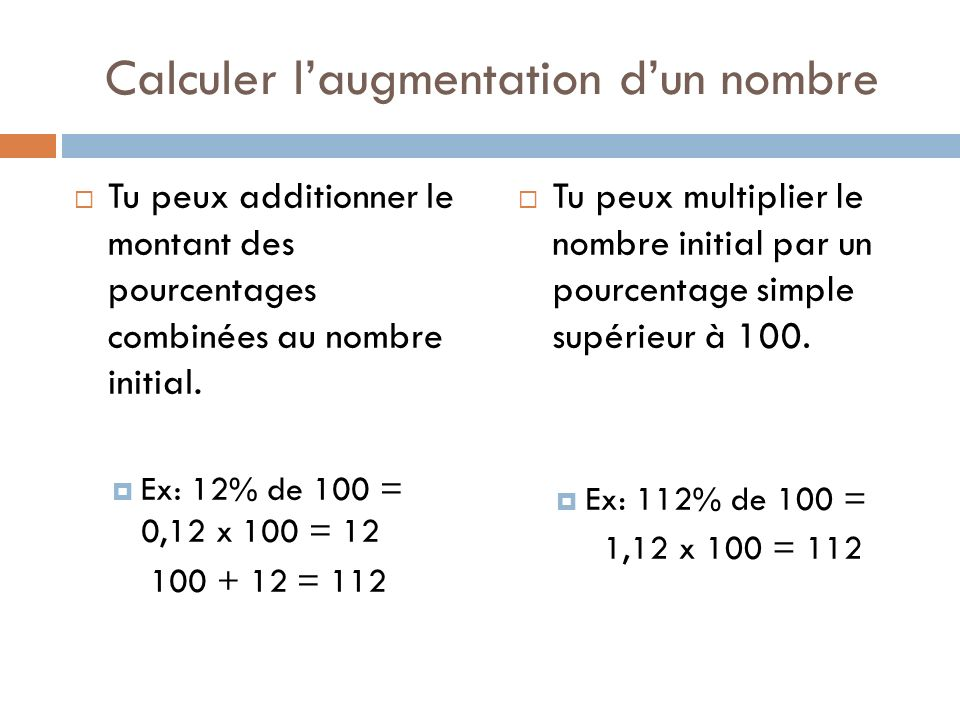 Calculer l'augmentation d'un nombre