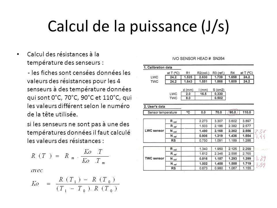 Calcul de la puissance (J/s)