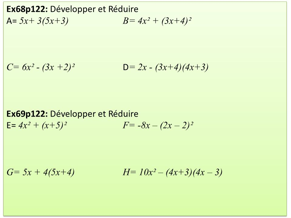 Ex68p122: Développer et Réduire