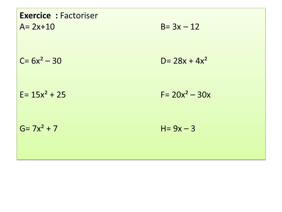 Exercice : Factoriser A= 2x+10 B= 3x – 12. C= 6x² – 30 D= 28x + 4x². E= 15x² + 25 F= 20x² – 30x.
