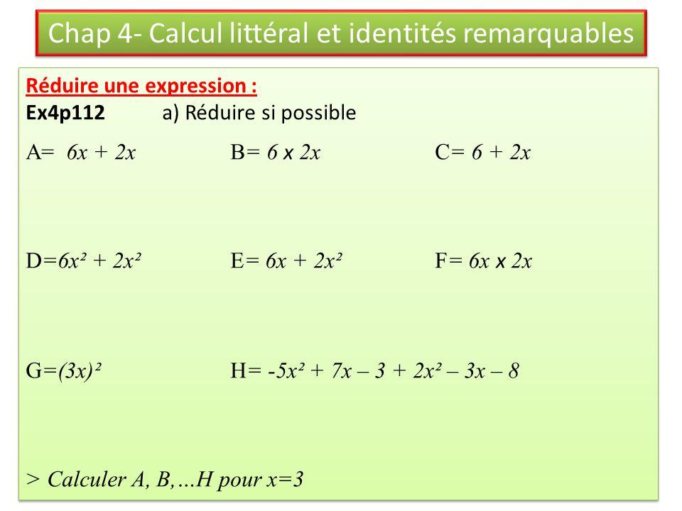 Chap 4- Calcul littéral et identités remarquables
