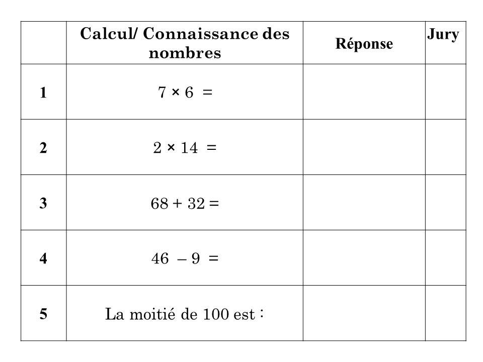 Calcul/ Connaissance des nombres
