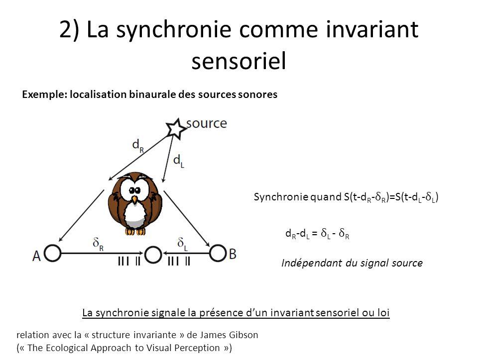 2) La synchronie comme invariant sensoriel