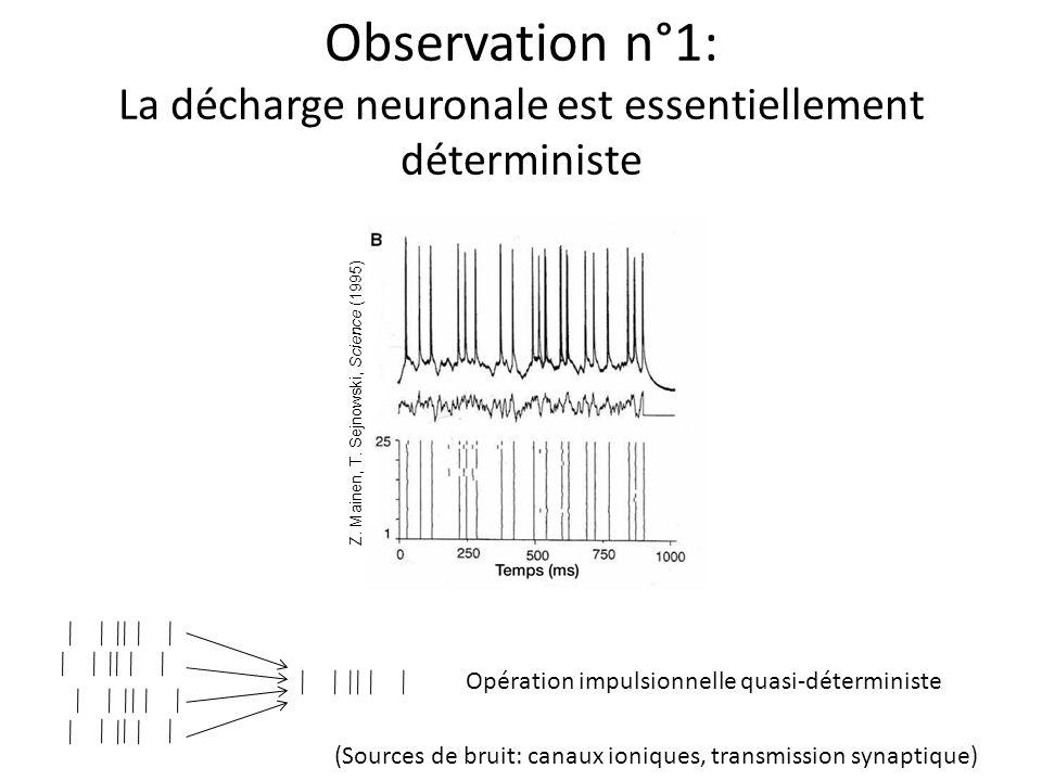 Observation n°1: La décharge neuronale est essentiellement déterministe