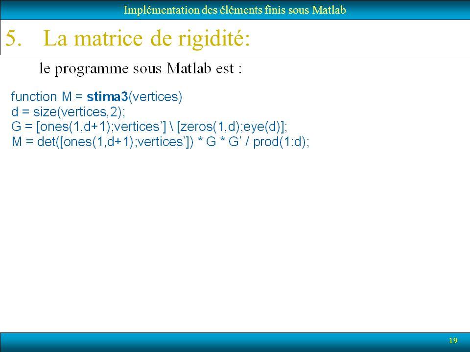 La matrice de rigidité: