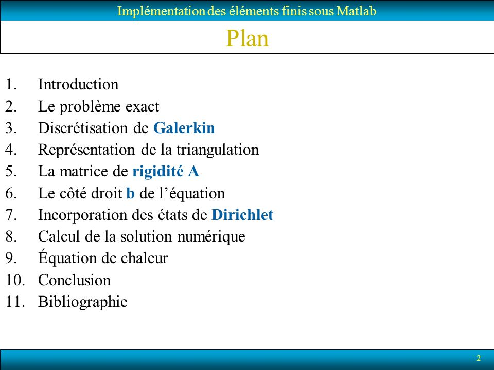 Implémentation des éléments finis sous Matlab