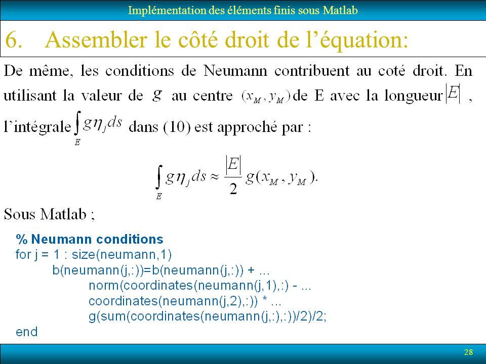 Assembler le côté droit de l'équation: