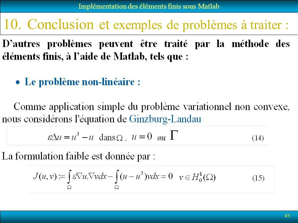 Conclusion et exemples de problèmes à traiter :