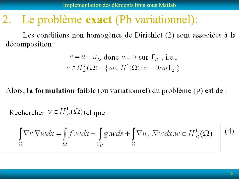 Le problème exact (Pb variationnel):