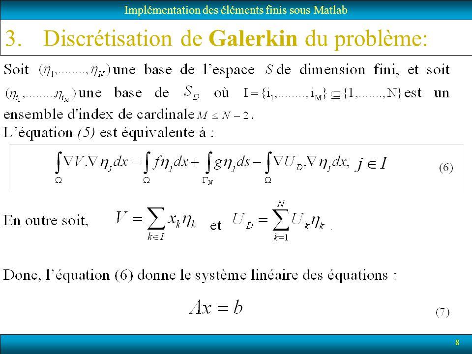 Discrétisation de Galerkin du problème: