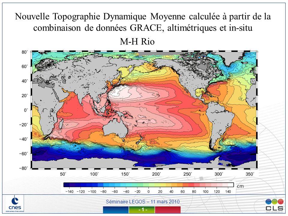 Nouvelle Topographie Dynamique Moyenne calculée à partir de la combinaison de données GRACE, altimétriques et in-situ