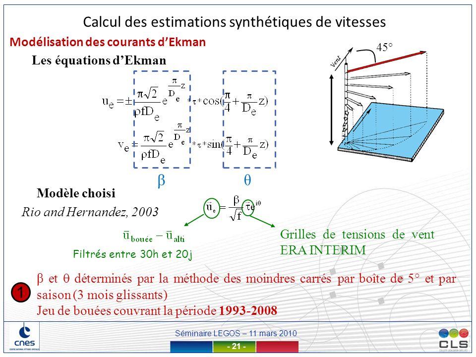 Calcul des estimations synthétiques de vitesses