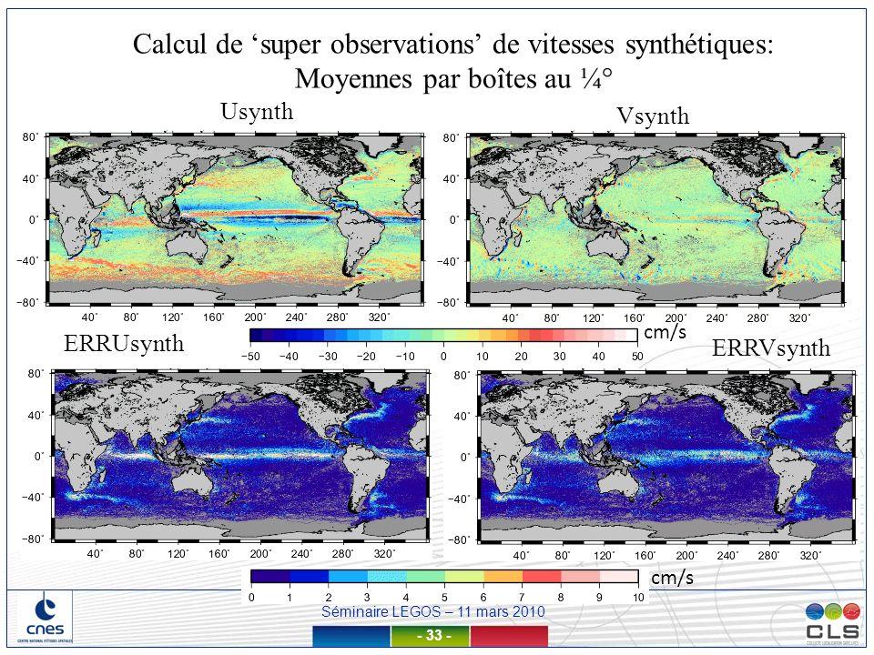Calcul de 'super observations' de vitesses synthétiques: Moyennes par boîtes au ¼°