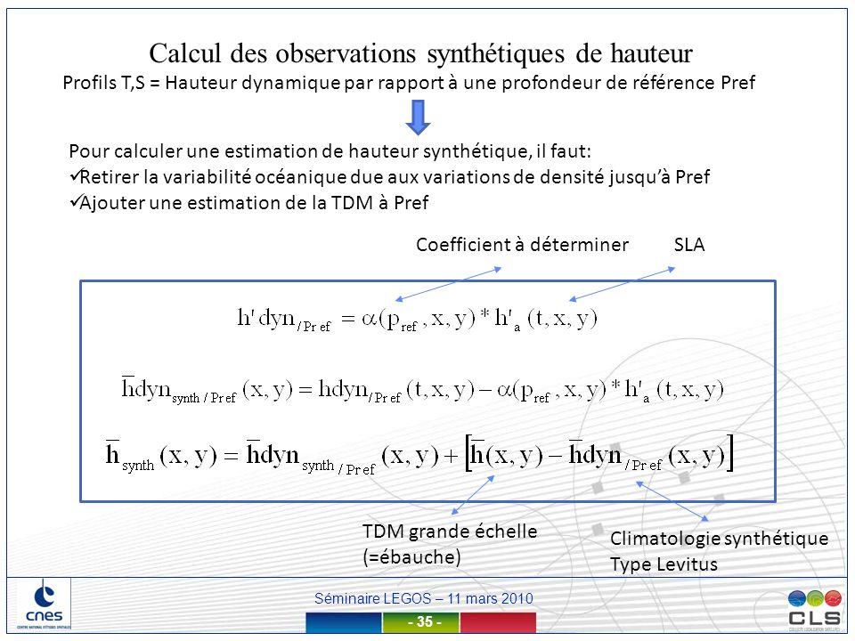 Calcul des observations synthétiques de hauteur