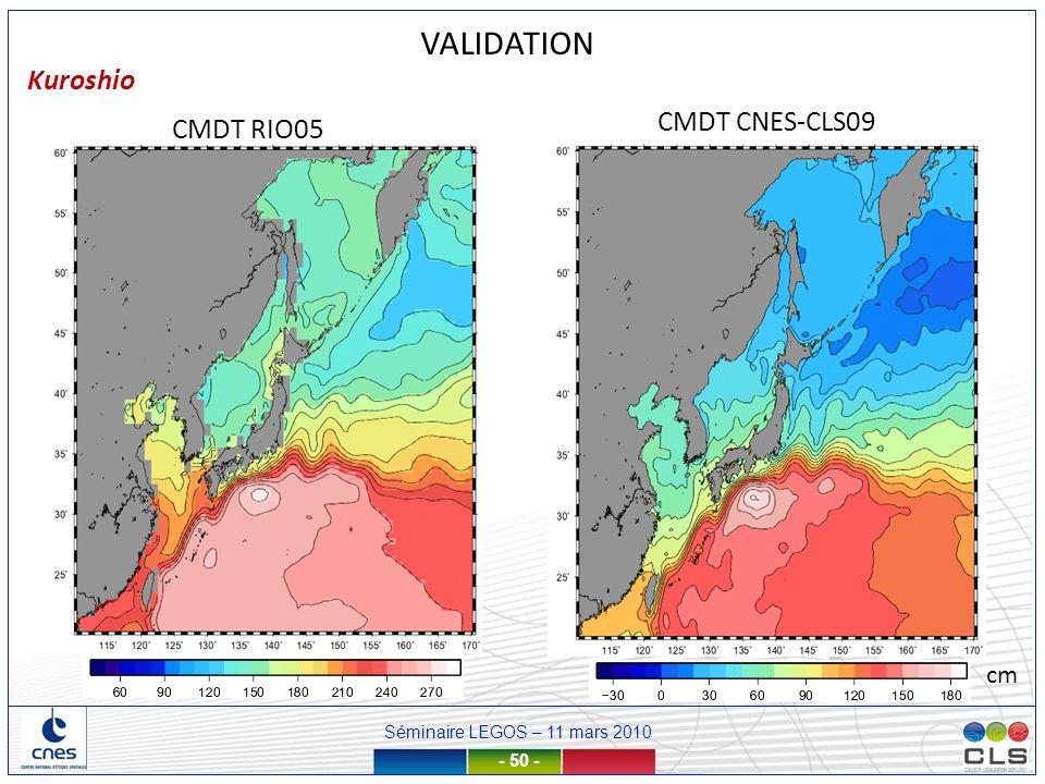 VALIDATION Kuroshio CMDT CNES-CLS09 CMDT RIO05 cm