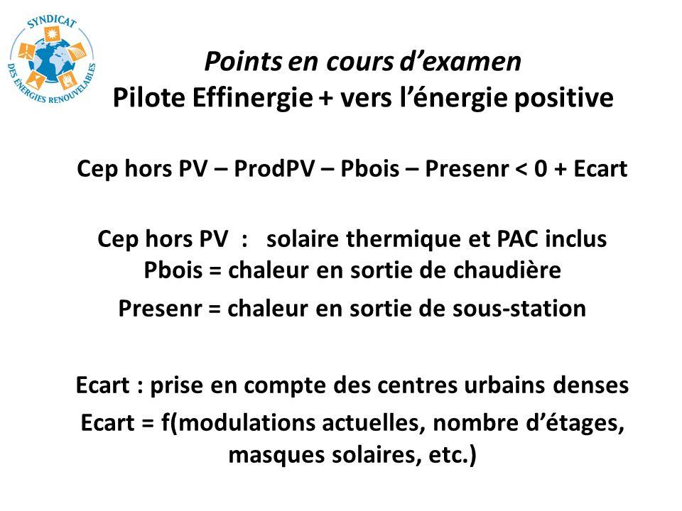 Points en cours d'examen Pilote Effinergie + vers l'énergie positive