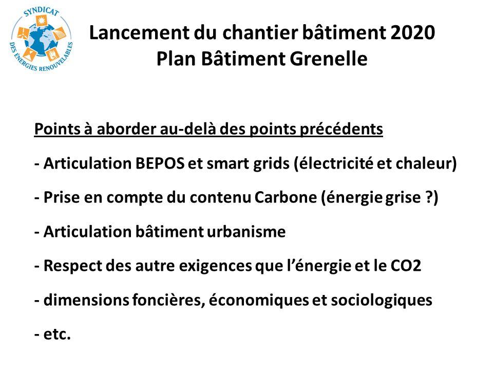 Lancement du chantier bâtiment 2020 Plan Bâtiment Grenelle
