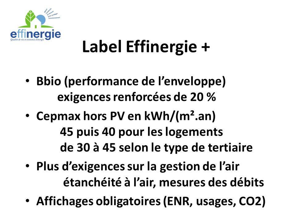 Label Effinergie + Bbio (performance de l'enveloppe) exigences renforcées de 20 %