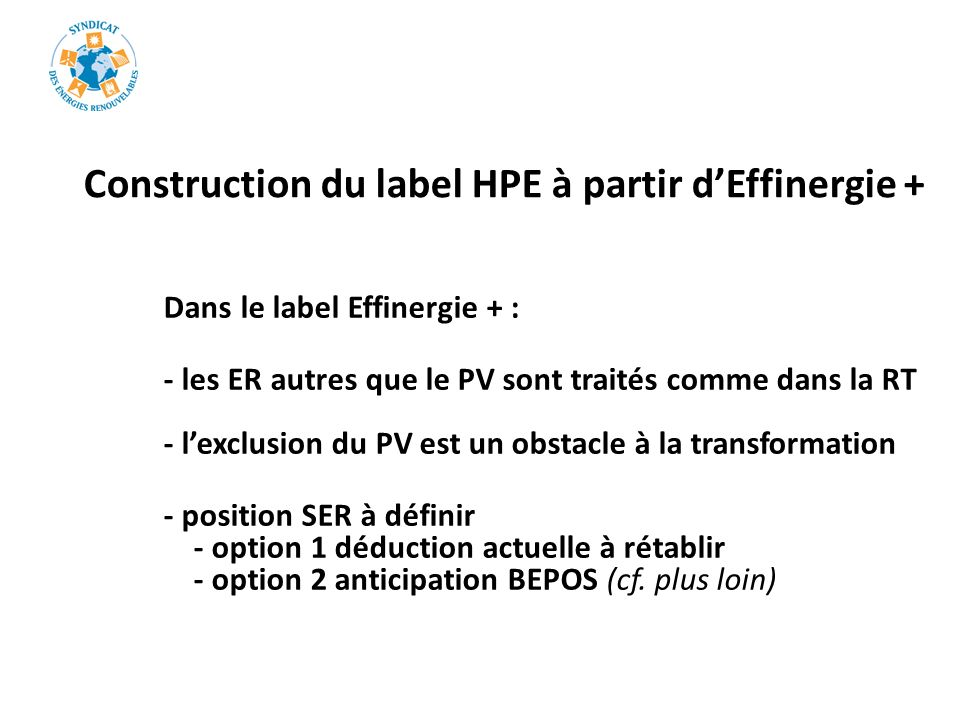 Construction du label HPE à partir d'Effinergie +