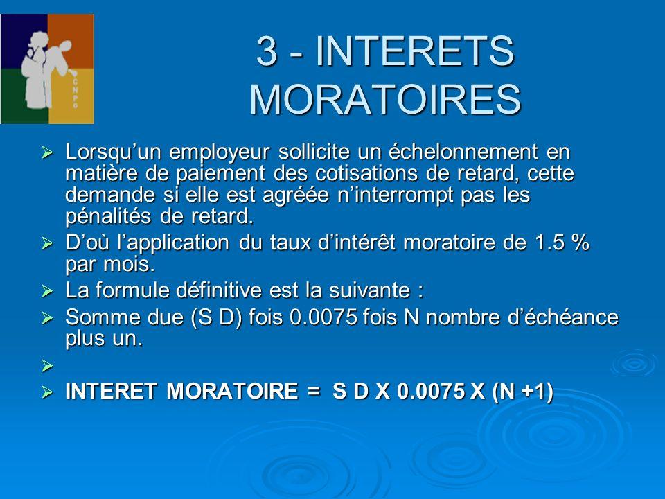 3 - INTERETS MORATOIRES