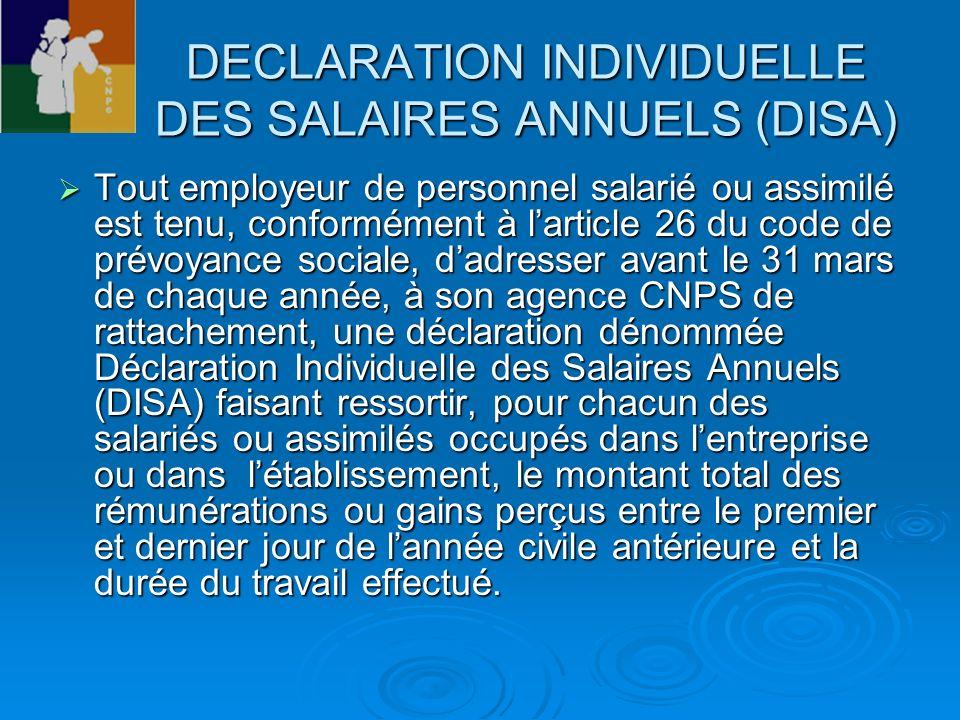 DECLARATION INDIVIDUELLE DES SALAIRES ANNUELS (DISA)