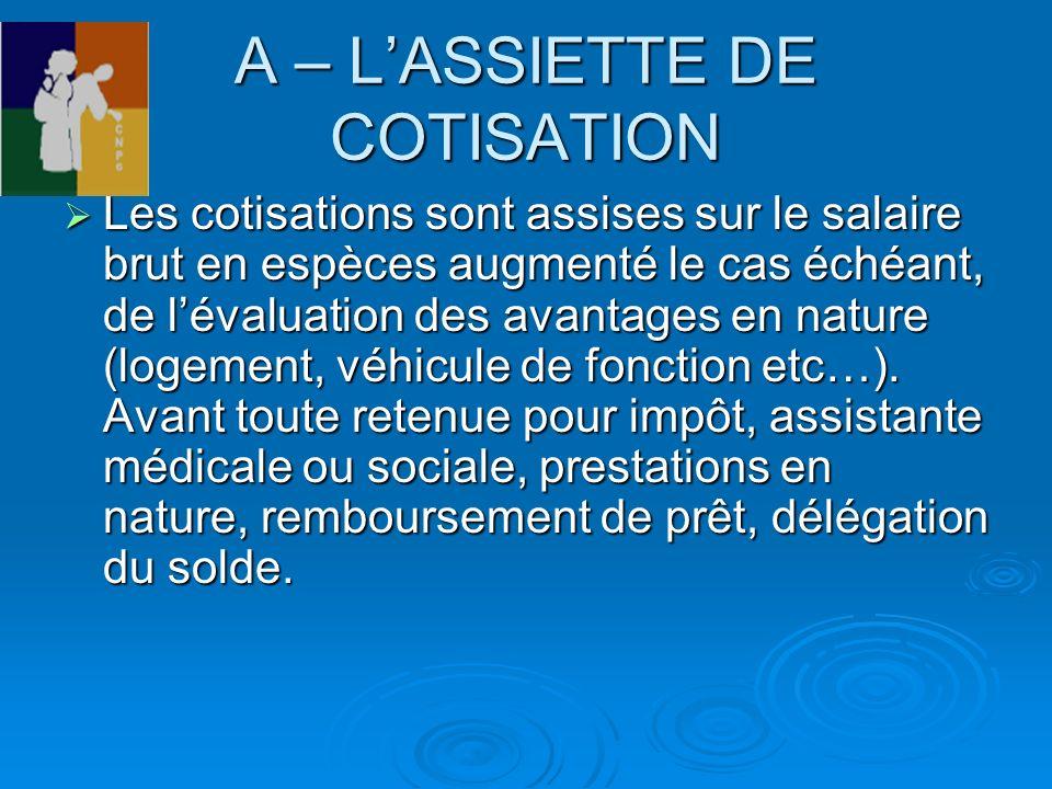A – L'ASSIETTE DE COTISATION