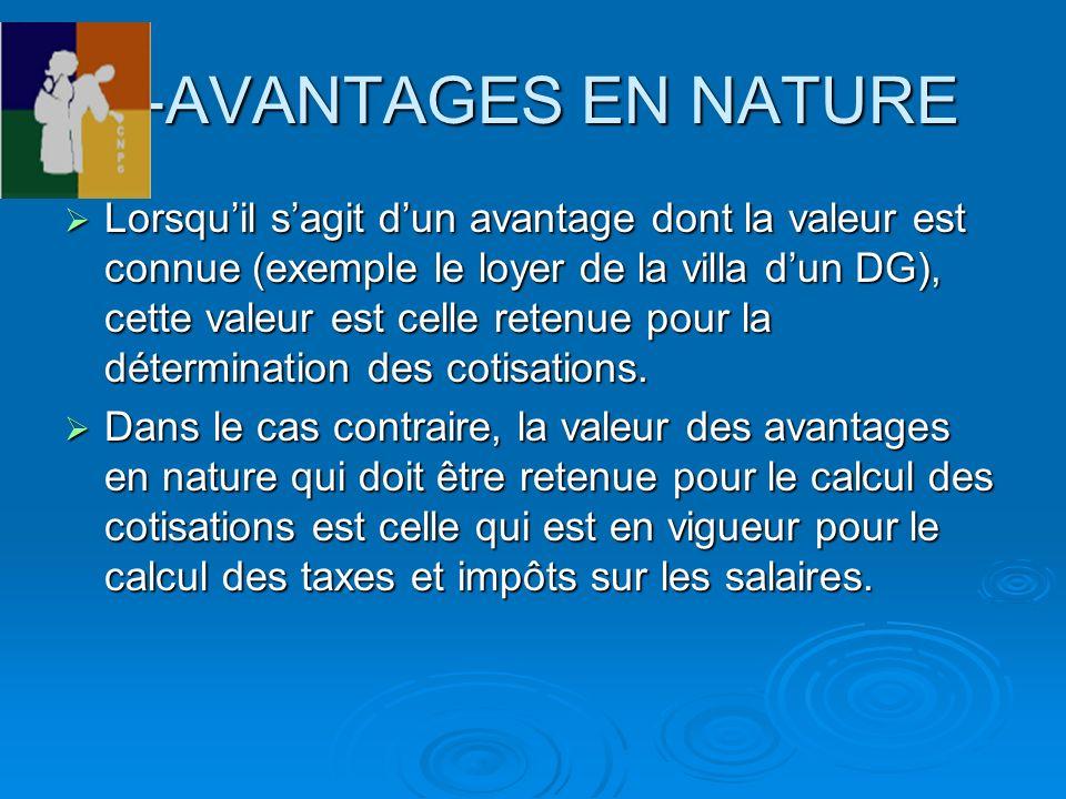 2-AVANTAGES EN NATURE