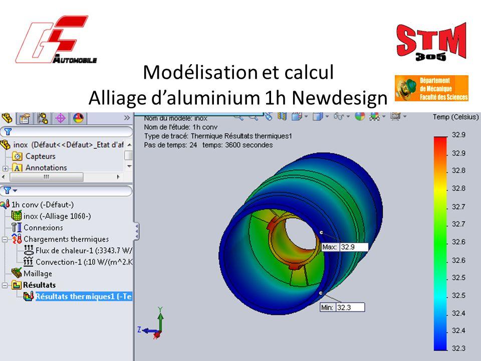Modélisation et calcul Alliage d'aluminium 1h Newdesign