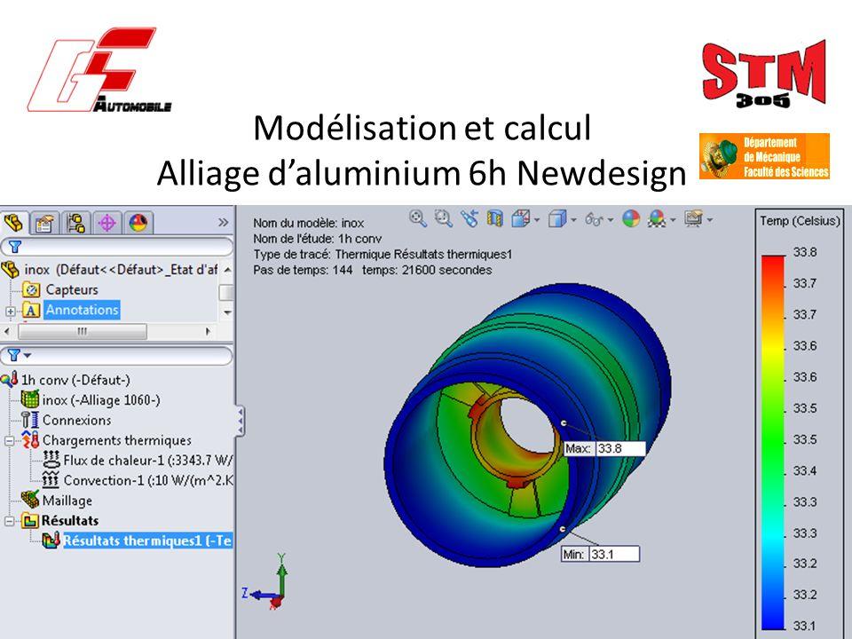 Modélisation et calcul Alliage d'aluminium 6h Newdesign