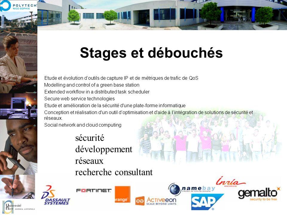 Stages et débouchés sécurité développement réseaux