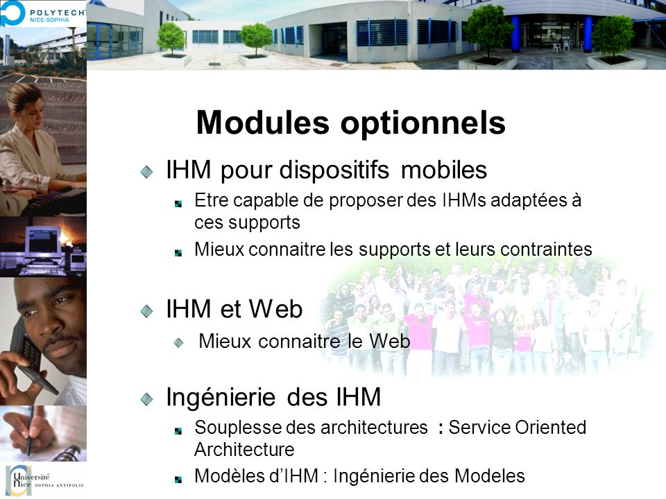 Modules optionnels IHM pour dispositifs mobiles IHM et Web
