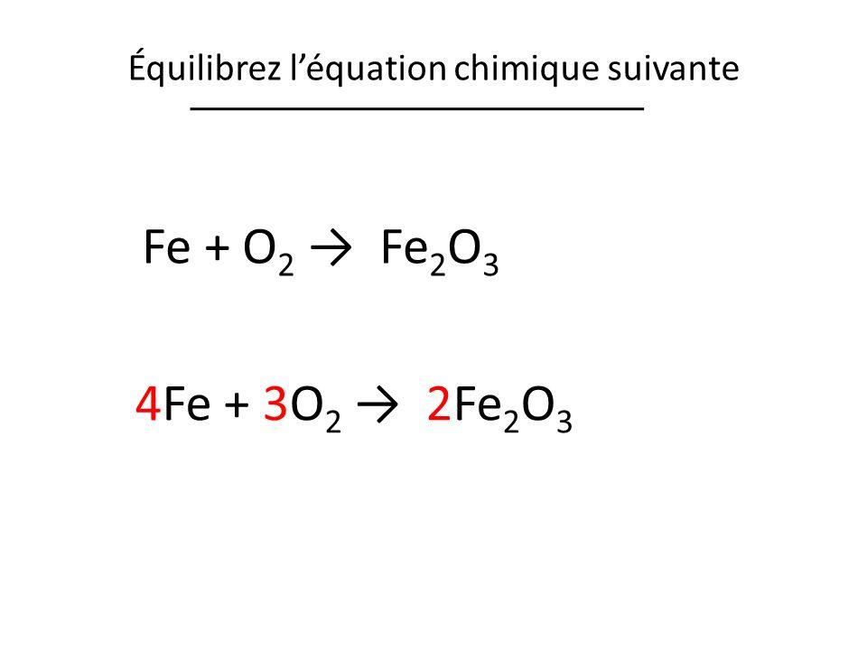 Équilibrez l'équation chimique suivante