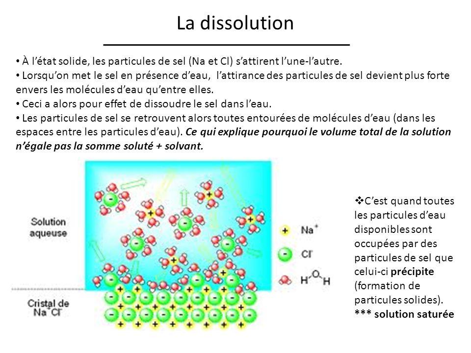 La dissolution À l'état solide, les particules de sel (Na et Cl) s'attirent l'une-l'autre.