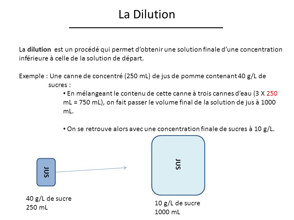 La Dilution La dilution est un procédé qui permet d'obtenir une solution finale d'une concentration inférieure à celle de la solution de départ.