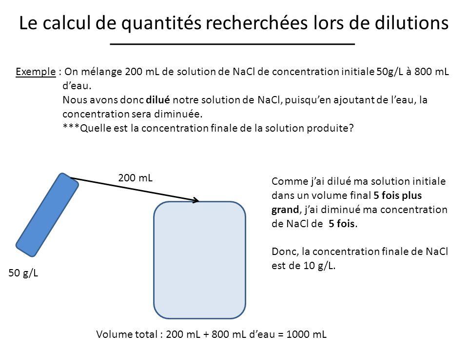 Le calcul de quantités recherchées lors de dilutions