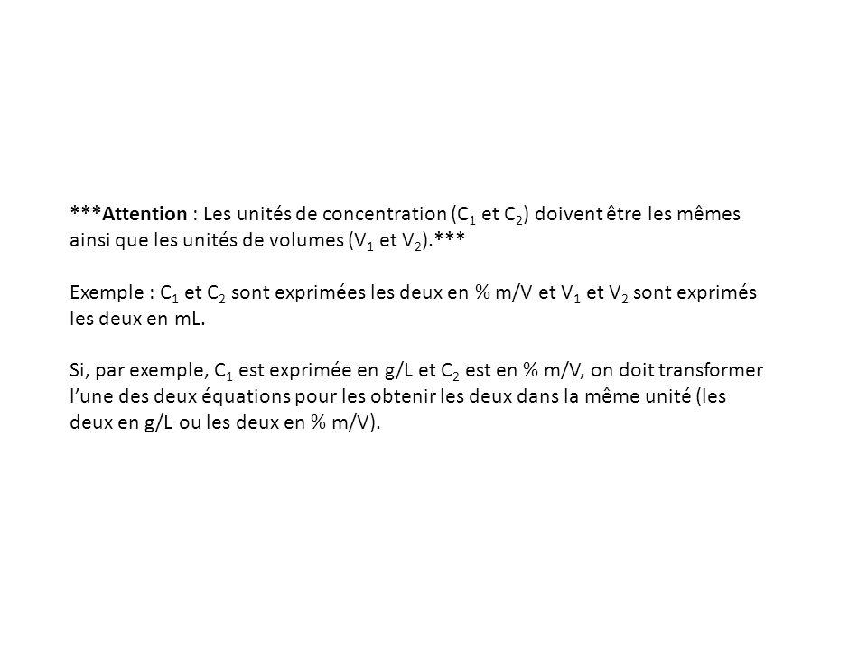 ***Attention : Les unités de concentration (C1 et C2) doivent être les mêmes ainsi que les unités de volumes (V1 et V2).***
