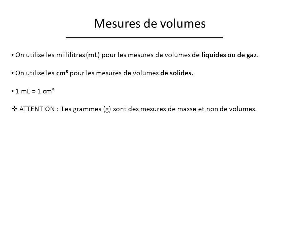 Mesures de volumes On utilise les millilitres (mL) pour les mesures de volumes de liquides ou de gaz.