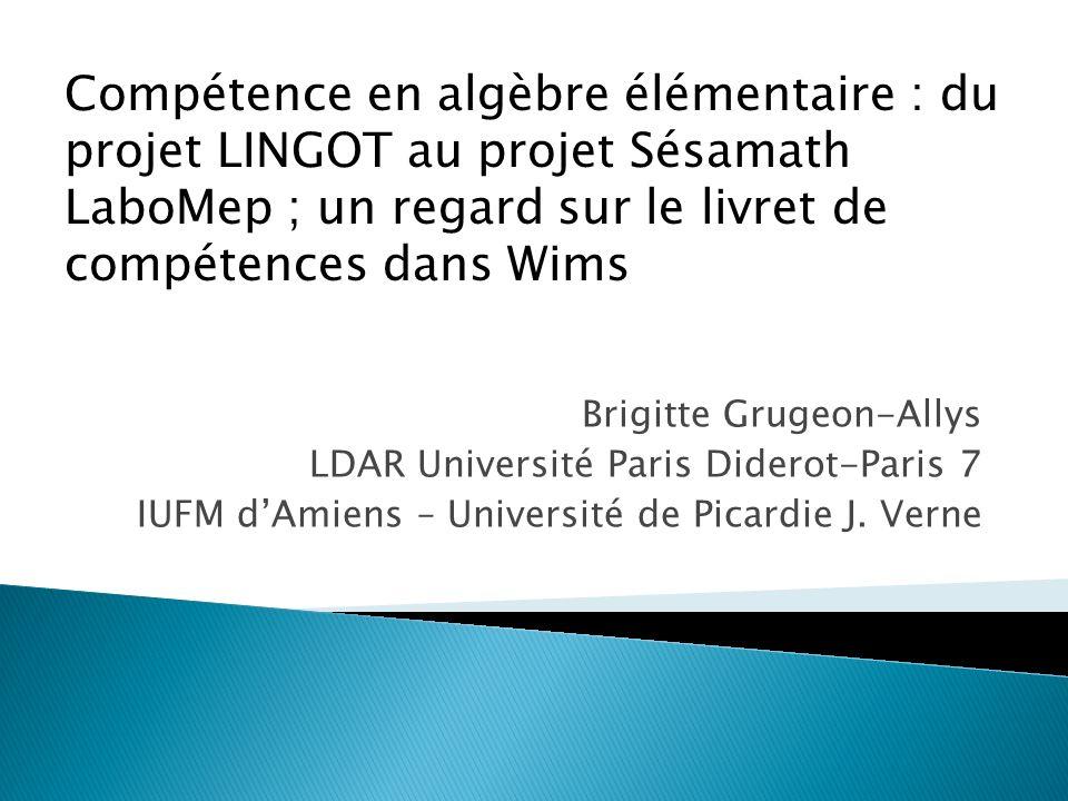 Compétence en algèbre élémentaire : du projet LINGOT au projet Sésamath LaboMep ; un regard sur le livret de compétences dans Wims