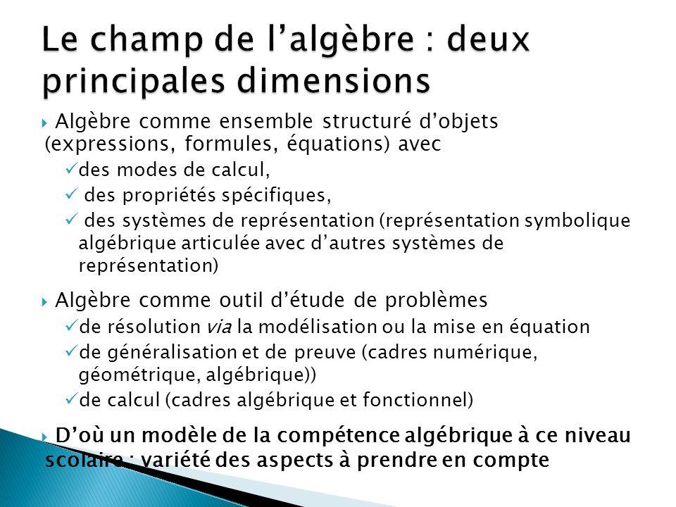 Le champ de l'algèbre : deux principales dimensions