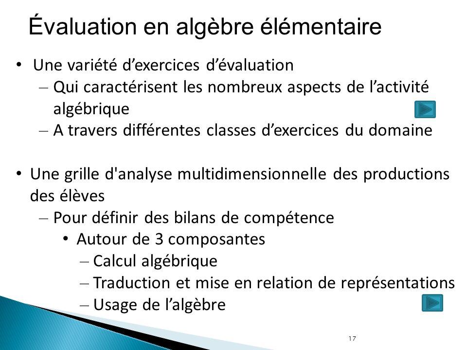 Évaluation en algèbre élémentaire